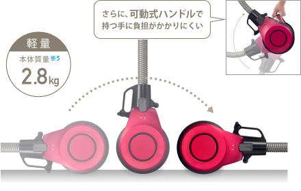 軽量 本体質量2.8kg さらに、可動式ハンドルで持つ手に負担がかかりにくい