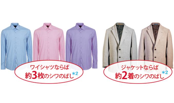 ワイシャツならば約3枚のシワのばし*2 ジャケットならば約2着のシワのばし*2